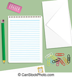 An illustration of a letter writting kit on a green background