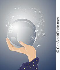 an illustration of a magicians hand with purple robe holding a magic crystal ball with sparkles and stars on a blue gray background