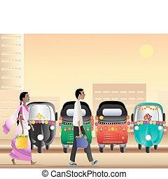 tuk tuk taxi park - an illustration of a man and a woman...