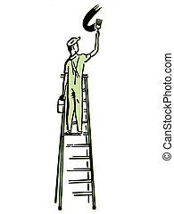 An illustration of a man climbing a ladder
