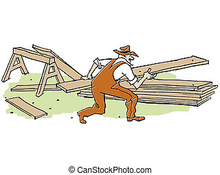 An illustration of a man doing construction