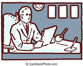 An illustration of a man working at his desk
