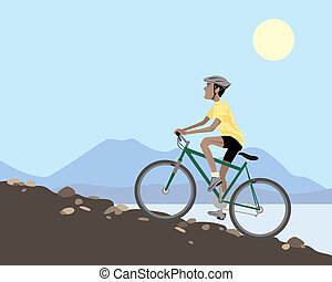 an illustration of a mountain biker cycling uphill on a rocky slope with lake and hills under a blue summer sky