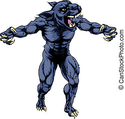 Panther scary sports mascot