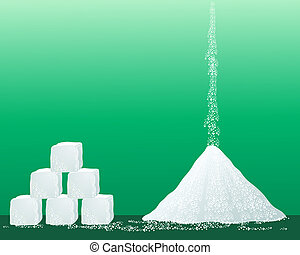 an illustration of a pile of sugar granules with a stack of sugar cubes on a green background
