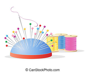 an illustration of a pin cushion with colorful pins a needle and thread and cotton reels with embroidery yarn in pink yellow and blue on a white background