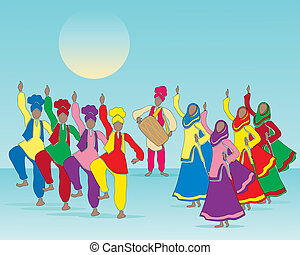 an illustration of a punjabi folk dance with men and women in traditional dress and musician on a blue green background