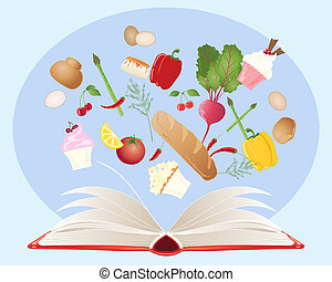 an illustration of a recipe book with open pages and various food ingredients on a blue background