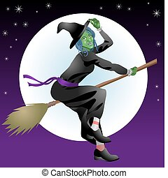scary Halloween witch - An illustration of a scary Halloween...