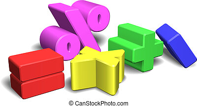 An illustration of a set of colorful 3d math symbols or signs