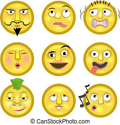 An illustration of a set of emoticon smileys