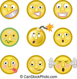 An illustration of a set of emoticon smileys