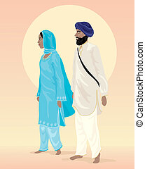 sikh couple - an illustration of a sikh couple dressed in...