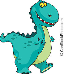 An illustration of a smiling dinosaur