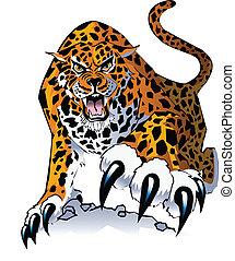 An illustration of a stalking, growling jaguar, walking toward viewer.