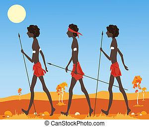 australian aborigine - an illustration of a three australian...