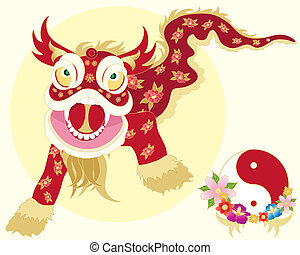an illustration of a traditional chinese dragon dance with yinyang symbol and flowers on a pale yellow background