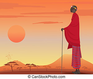 masai man - an illustration of a traditionally dressed masai...