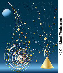 an illustration of a variety of fireworks in a starry night sky