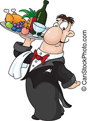 An illustration of a waiter with a tray