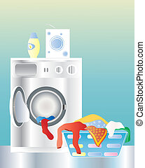 washing machine - an illustration of a washing machine with...