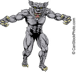 An illustration of a Werewolf wolf scary sports mascot with claws out