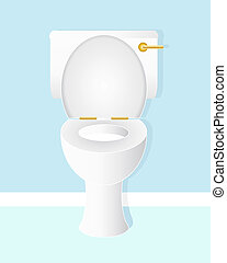 an illustration of a white ceramic toilet bowl with gold handle and hinges in a fresh blue bathroom