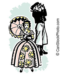An illustration of a woman dressed in Victorian attire