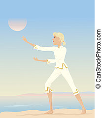 tai chi - an illustration of a woman practising tai chi with...