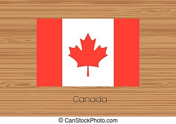 Illustration of a wooden floor with the flag of Canada
