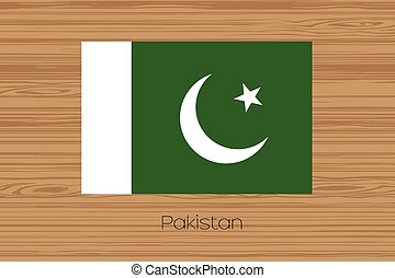 Illustration of a wooden floor with the flag of Pakistan - ...