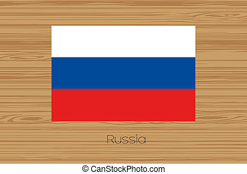 Illustration of a wooden floor with the flag of Russia