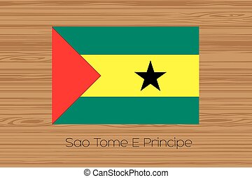 Illustration of a wooden floor with the flag of Sao Tome E Principe