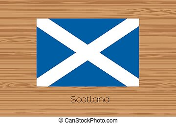 Illustration of a wooden floor with the flag of Scotland