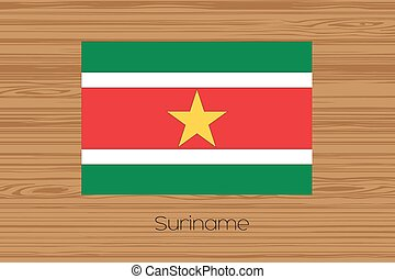 Illustration of a wooden floor with the flag of Suriname