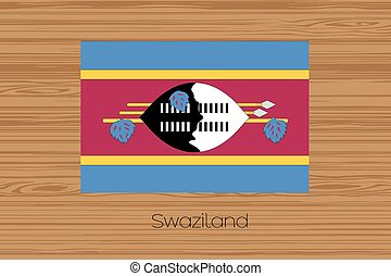 Illustration of a wooden floor with the flag of Swaziland