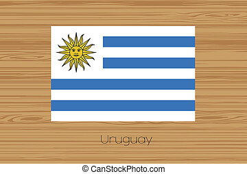Illustration of a wooden floor with the flag of Uruguay
