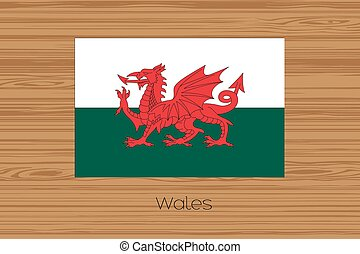 Illustration of a wooden floor with the flag of Wales