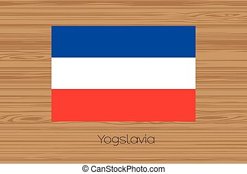 Illustration of a wooden floor with the flag of Yugoslavia