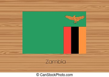 Illustration of a wooden floor with the flag of Zambia