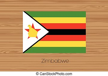 Illustration of a wooden floor with the flag of Zimbabwe