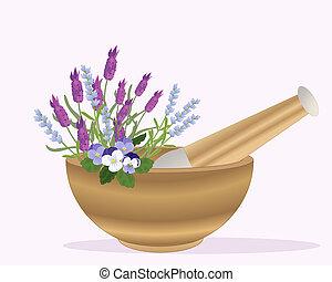 an illustration of a wooden pestle and mortar with lavender and pansy flowers on a pink background