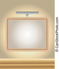 art gallery - an illustration of a wooden picture frame with...