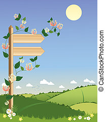 signpost - an illustration of a wooden signpost with...