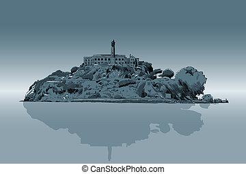 Alcatraz - An illustration of Alcatraz prison.