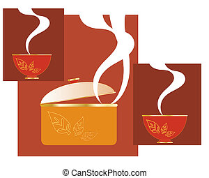an illustration of an abstract casserole dish with steam and a modern leaf design and matching bowls on autumnal color background