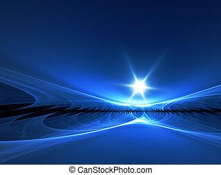 An illustration of an abstract fractal horizon