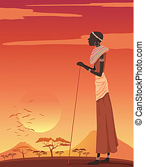 african woman - an illustration of an african woman looking...