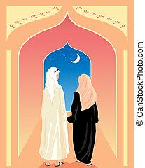 arabic couple - an illustration of an arabic couple walking...