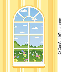 arched window - an illustration of an arched window in...